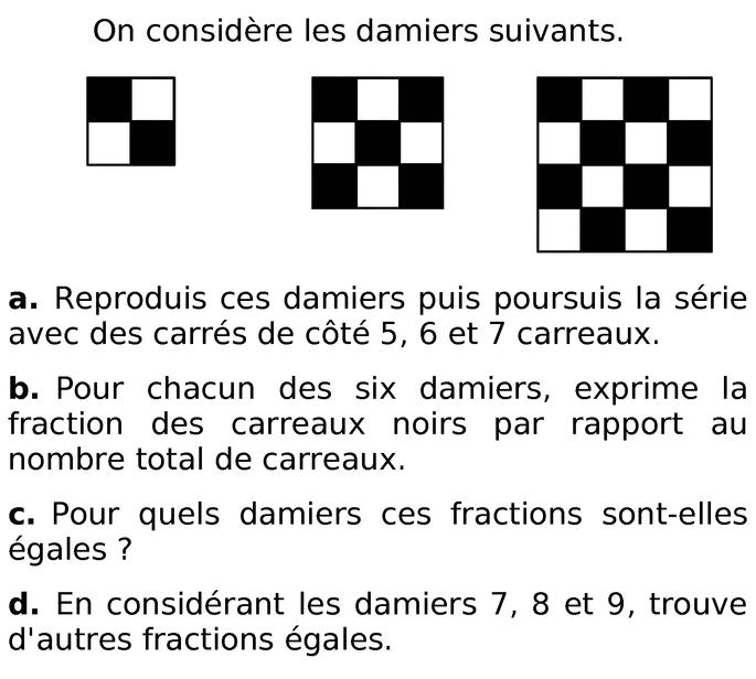 Damier et fractions : exercices en 6ème.