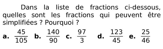 simplifier des fractions : exercices en 6ème.