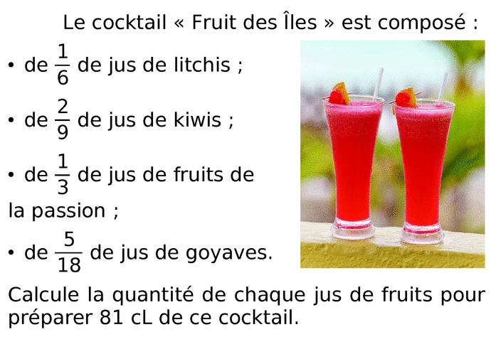Le cocktail  de jus de fruits : exercices en 6ème.