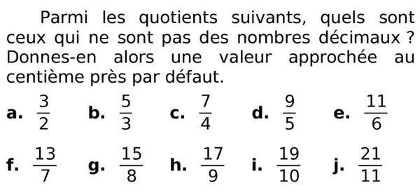 quels sont les nombres décimaux ? : exercices en 6ème.
