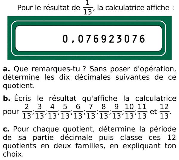 Résultat à la calculatrice : exercices en 6ème.