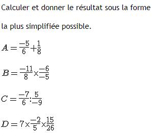 calculs simples et simplification de fractions : exercices en 4ème.