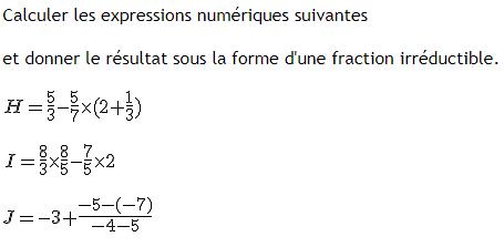Calculer les expressions numériques : exercices en 4ème.