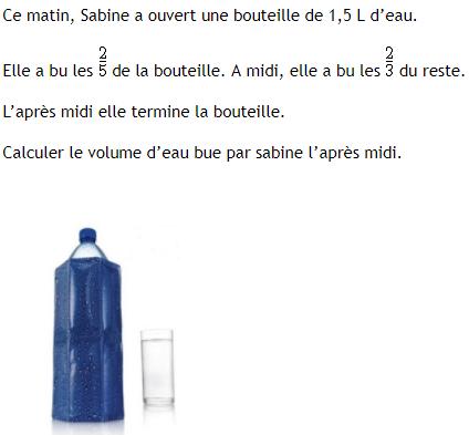 problème de bouteille d'eau : exercices en 4ème.
