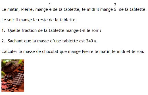 Problème de tablette de chocolat et fractions : exercices en 4ème.