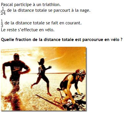 Problème triathlon et fractions : exercices en 4ème.
