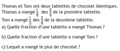 Tablette de chocolat et fractions : exercices en 4ème.