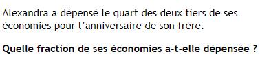 Economies et problème sur les fractions : exercices en 4ème.