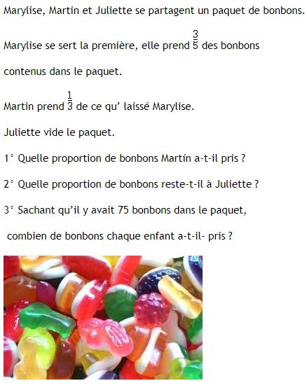 Paquet de bonbons et fractions : exercices en 4ème.