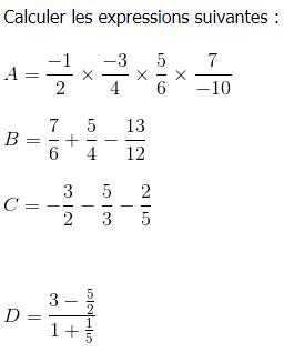 Les fractions : exercices de maths 4ème (quatrième) à ...
