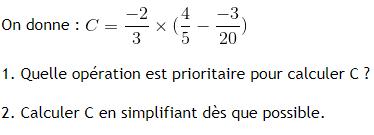 Opération sur les fractions et parenthèses. : exercices en 4ème.