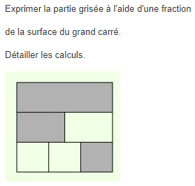 Fractions et aires dans un carré : exercices en 5ème.