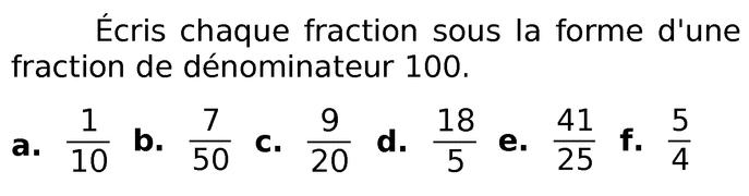 Ecrire des fractions : exercices en 6ème.
