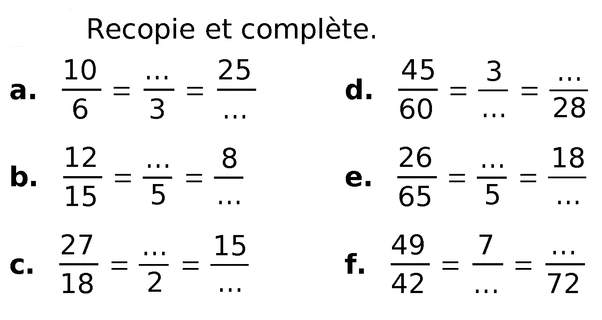 Des égalités de fractions : exercices en 6ème.