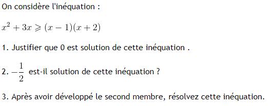 Inéquation du premier degré : exercices en 3ème.