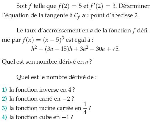 Nombre dérivé et tangente : exercices en 1ère S.