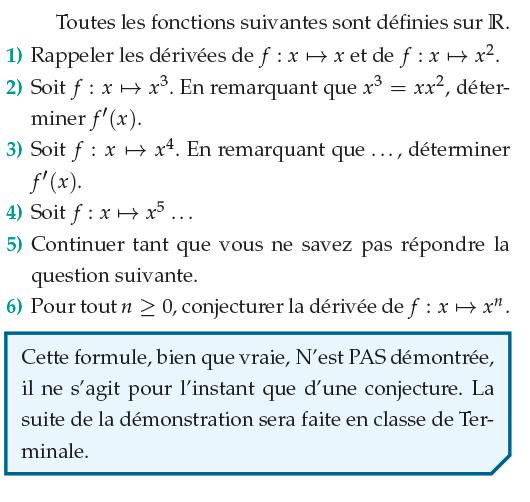 Calculer la dérivée de x^n : exercices en 1ère S.