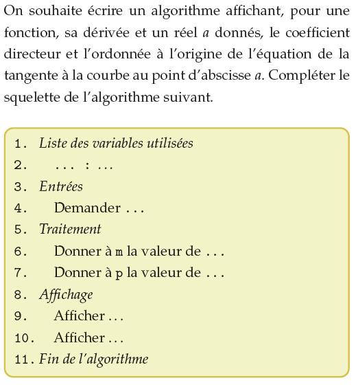 Compléter le squelette de l'algorithme : exercices en 1ère S.