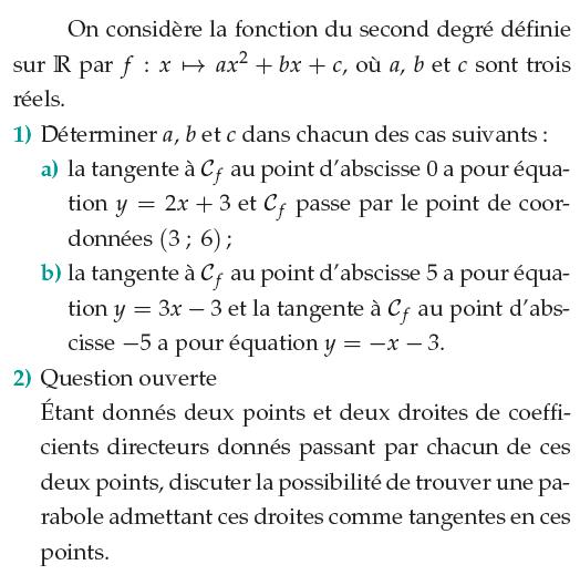 Déterminer la tangente à une parabole : exercices en 1ère S.