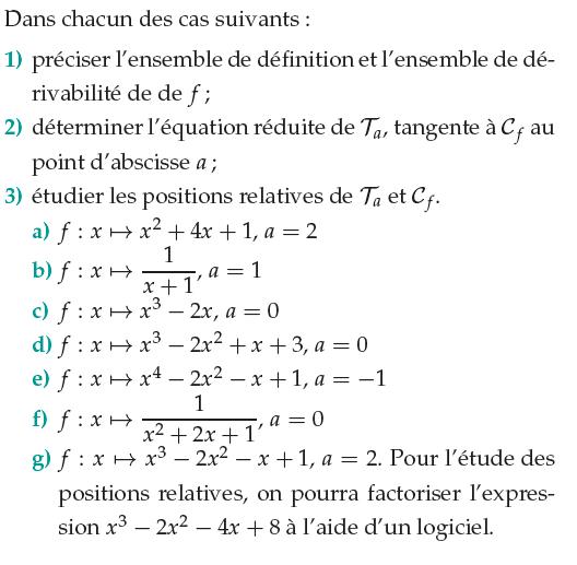 Ensemble de définition et position relative par rapport à la tangente : exercices en 1ère S.
