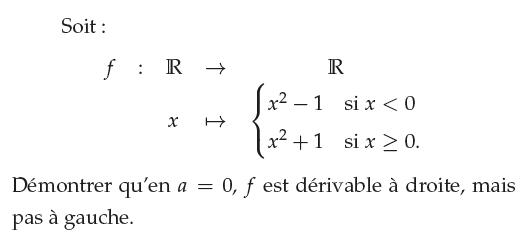 Fonction dérivable à droite de 0 : exercices en 1ère S.