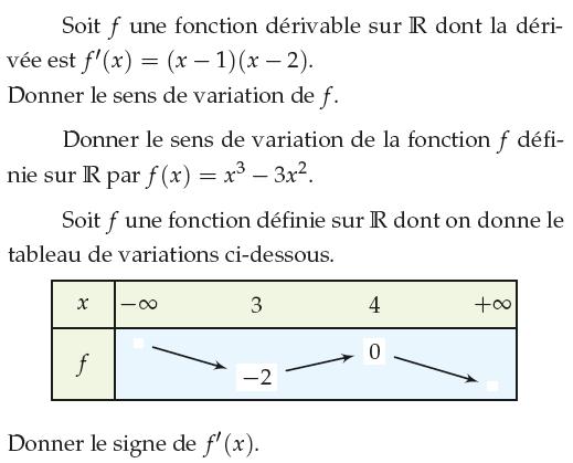 Signe de f' et sens de variation : exercices en 1ère S.