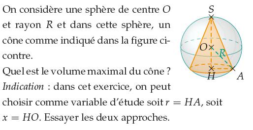 Volume maximal d'un cône inclus dans une sphère : exercices en 1ère S.