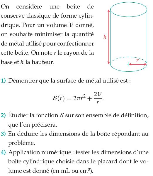 Une boîte de conserve et la surface de métal : exercices en 1ère S.