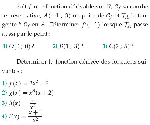 Fonction dérivable sur R : exercices en 1ère S.