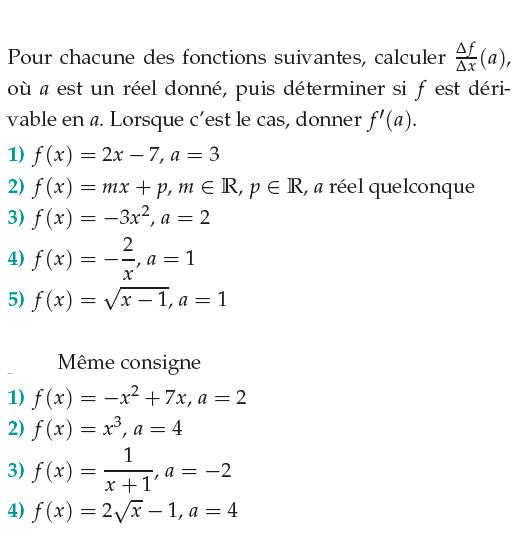 Dérivabilité en a et taux de variation : exercices en 1ère S.