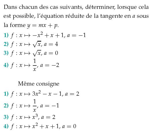 Déterminer l'équation réduite de la tangente en a : exercices en 1ère S.