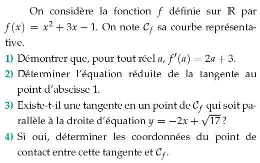 Calcul de la dérivée et équation de la tangente : exercices en 1ère S.