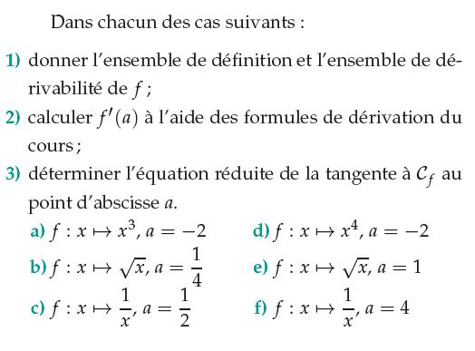 Ensemble de définition et équation réduite de la tangente : exercices en 1ère S.