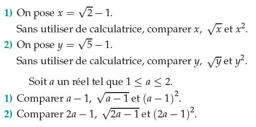 Comparaison de racines carrée et de carrés : exercices en 1ère S.