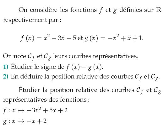 Position relative de courbes : exercices en 1ère S.