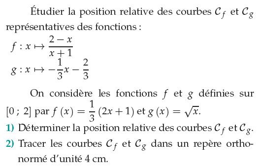 Position relative et tracés de courbes : exercices en 1ère S.
