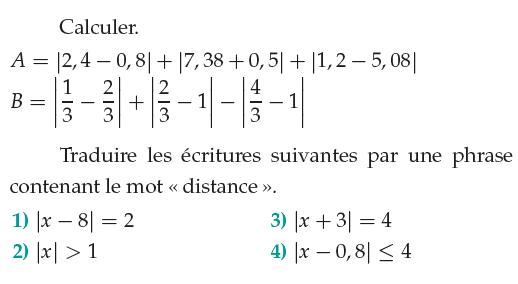 Valeur absolues et distances : exercices en 1ère S.