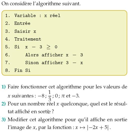 Algorithme de calcul : exercices en 1ère S.