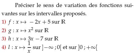 Préciser le sens de variation des fonctions usuelles : exercices en 1ère S.