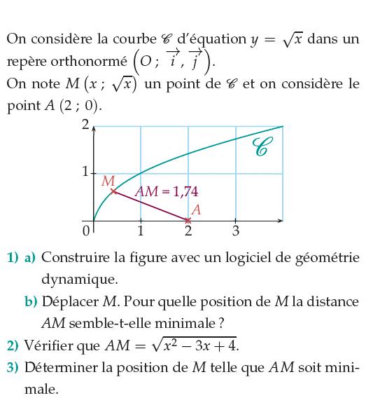 Logiciel de géométrie et distance minimale : exercices en 1ère S.