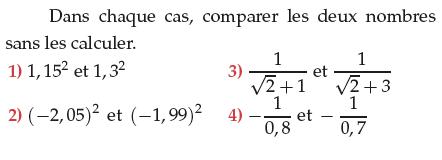 Comparer des nombres sans les calculer : exercices en 1ère S.