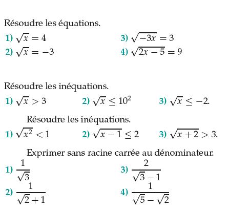 Des équations et inéquations avec les racines carrées : exercices en 1ère S.