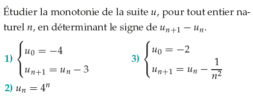 Une étude de la monotonie d'une suite Un : exercices en 1ère S.