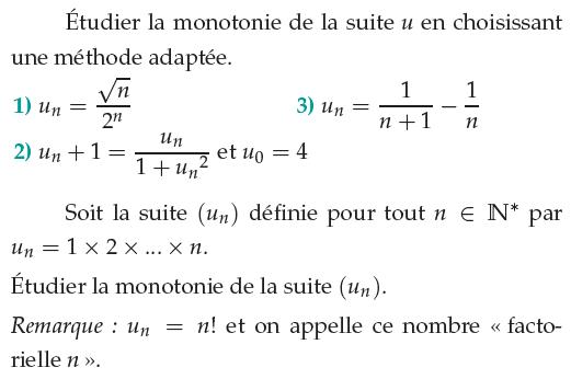 Monotonie de différentes suites : exercices en 1ère S.