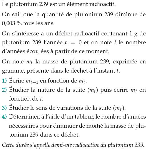Problème de plutonium et de suites : exercices en 1ère S.