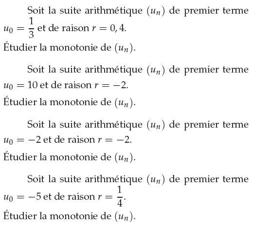 Suite arithmétique et monotonie : exercices en 1ère S.