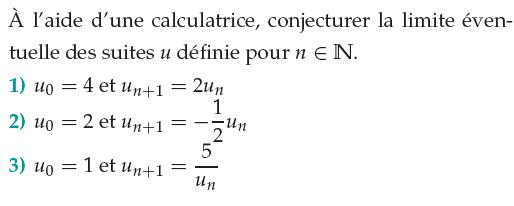 Conjecturer la limite avec la calculatrice : exercices en 1ère S.
