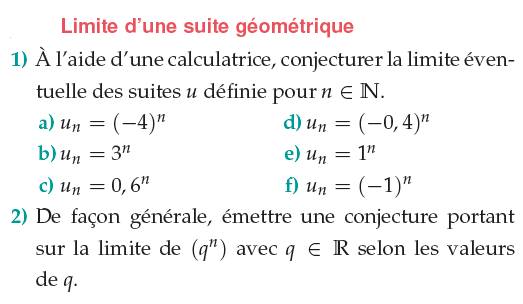 Limite d'une suite géométrique : exercices en 1ère S.
