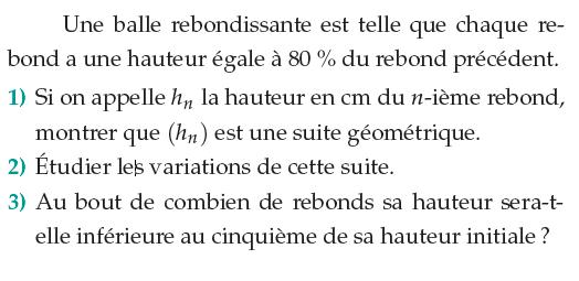 Balle rebondissante et variation d'une suite : exercices en 1ère S.