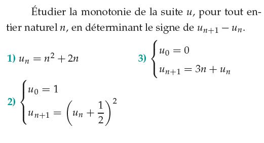 Suite récurrente et monotonie : exercices en 1ère S.